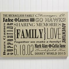 "Our Family Personalized Canvas Art Print- 12""x18"""
