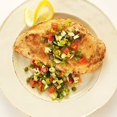 Need a quick recipe for two? Try this panéed (pan-fried) chicken recipe infused with a rich vegetable salsa – a colorful dish when you need one. Pan Fried Chicken, Fried Chicken Recipes, Grilled Chicken, Quick Recipes, Cooking Recipes, Vegetable Salad Recipes, Chicken Breast Fillet, Homemade Tortillas, Chicken Seasoning