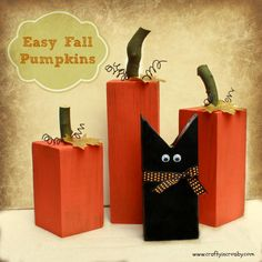 Fun Fall Pumpkins and a Sweet Black Cat - Easy DIY by Crafty In Crosby : Featured Post on Turn it up Tuesdays Diy Halloween, Recetas Halloween, Halloween Decorations, Fall Decorations, Pumpkin Crafts, Fall Crafts, Holiday Crafts, 4x4 Crafts, Wood Pumpkins