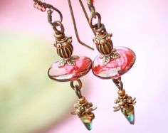 Tea At Midnight. Earrings with Venetian glass, Czech glass and Copper.