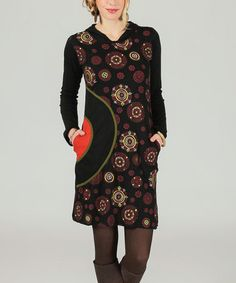 d6863fae86 Another great find on  zulily! Black  amp  Red Medallion Hooded Dress   zulilyfinds