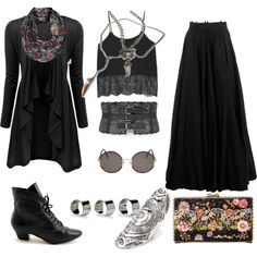 A fashion look from December 2013 featuring Doublju cardigans, Monki tops and Yang Li skirts. Browse and shop related looks. Grunge Style, Soft Grunge, Witch Fashion, Gothic Fashion, Fall Fashion, Wiccan, Perfume Lady Million, Witchy Outfit, Outfit