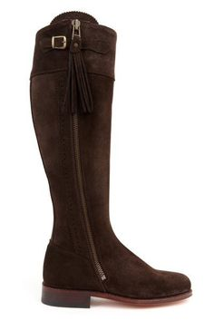 Spanish Riding Boots suede: Brown (leather sole) #spanish-riding-boots #suede-boots