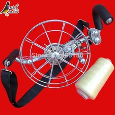 Free Shipping Outdoor Fun Sports 26cm Power Stainless Steel Strap Wheel  With 500m  3rd Line /Kite Wheel /Flying tools #Affiliate