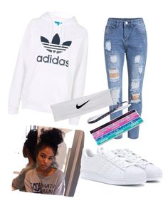 Another normal day at school by jakier on Polyvore featuring polyvore, fashion, style, Topshop, adidas, NIKE and clothing