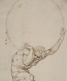 """Art Department - Crouching Figure of Atlas Baldassare Tommaso Peruzzi (Italian, Ancaiano Rome); On verso, annotated in pen and brown ink, by the hand usually identified with the """"Borghese Sagredo"""" album (Zaccaria Sagredo? Life Drawing, Figure Drawing, Art Sketches, Art Drawings, Art Du Croquis, Renaissance Kunst, Portrait Renaissance, Italian Renaissance, Art Inspo"""