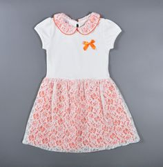 3-9 year Baby girl dress summer style cute children dress for girl orange new designer lace frock hot sale vestido roupa infanti