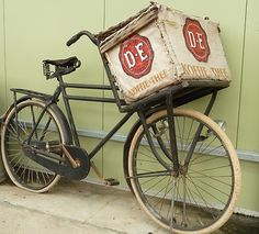 Coffee delivery in the old days for the 'Douwe Egberts' coffee brand.  #Netherlands #bicycles