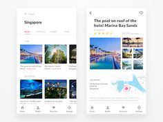 Here is the design concept of travel app. I made this interface for convenience to select the area of interest. Also tried to make a clean and minimalistic design with photos for grea. Mobile Ui Design, App Ui Design, User Interface Design, Travel Brochure Design, Travel Design, Sands Singapore, Ios Ui, Event Calendar, Calendar Ui