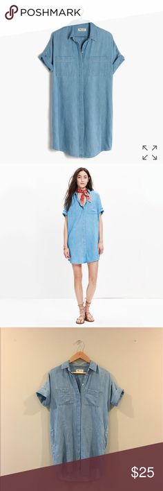 Madewell Denim Courier Shirtdress the beloved boy-meets-girl shirt is reborn as the perfect denim shirtdress. Cool and effortless, this might be the only thing to get us out of our jeans. Cotton/linen, 36 3/4 in, pockets Madewell Dresses Mini