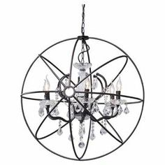 "Industrial-inspired pendant light with an enclosed chandelier design.   Product: PendantConstruction Material: Metal and crystalColor: RustFeatures:  59.84"" Cord lengthAccommodates: (6) 25 Watt E26 max bulbs - includedDimensions: 29.9"" Diameter"