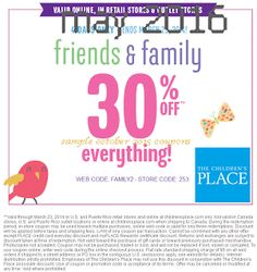 The Childrens Place coupons & The Childrens Place promo code inside The Coupons App. off at The Childrens Place, or online via promo code April Free Printable Coupons, Printable Cards, Free Printables, Love Coupons, Print Coupons, Coupons For Boyfriend, Grocery Coupons, Extreme Couponing, Coupon Organization