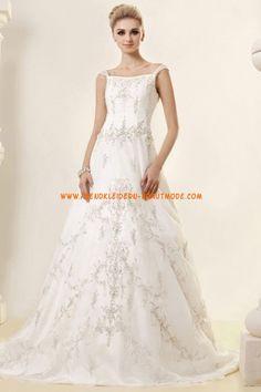 Schicke Träger A-linie Hochzeitskleider aus Organza mit Applikation