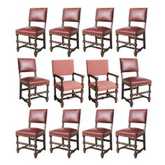 Set of Twelve Italian Dining Chairs, 19th C.