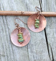 Copper and Green Turquoise Disc Drop Earrings