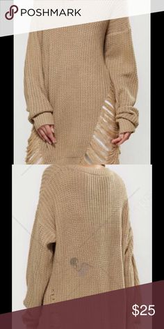 🎉NEW YEAR SALE Openwork Asymmetrical Sweater Color:Earthy Lightweight polyester material one size Sweaters