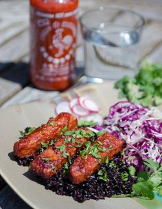 BBQ Sriracha Tempeh recipe: it's vegetarian, and you can sub agave for the honey to make it completely vegan.