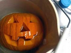 """After you scoop out and carve your pumpkin, dip it in a large container of bleach and water (use a 1 tsp:1 gal mix). The bleach will kill bacteria and help your pumpkin stay fresh longer. Once completely dry, (drain upside down), add 2 tablespoon of vinegar and 1 teaspoon of lemon juice to a quart of water. Brush this solution onto your pumpkin to keep it looking fresh for weeks."""