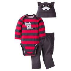 Gerber® Baby Boys' 3-Piece Long-Sleeve Onesie®, Pant & Cap - Raccoon…