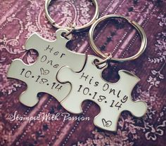 His and Her Puzzle Piece Keychain Set With Date - Couples -Wedding -Anniversary Key chain