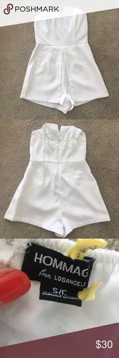 White Romper Adorable romper in excellent condition. Worn once at my bachelorette party, dry cleaned and have worn again. Perfect for summer- super lightweight! Pants Jumpsuits & Rompers