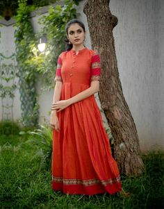 Ananya Orange Box Pleated Maxi from the house of The Anarkali Shop Indian Gowns Dresses, Indian Fashion Dresses, Dress Indian Style, Frock Fashion, Fashion Outfits, Sonam Kapoor, Deepika Padukone, Churidhar Designs, Long Gown Dress