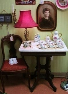 Eastlake Parlor Table with Marble Picture Frames, Marble, Vanity, Victorian, Furniture, Home Decor, Style, Portrait Frames, Vanity Area