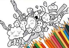 Kawaii doodle da colorare stampabile carino di FarfallaDorata