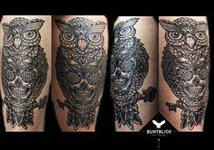 Eulen-Tattoo mit Totenkopf (Skull) - http://www.buntblick-tattoo.de/
