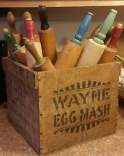 rolling pin collection looks good in old box
