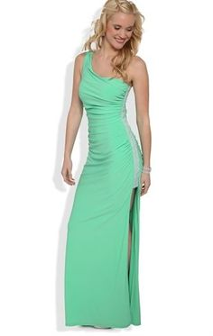 One Shoulder Long Prom Dress with Stone Trim Sides. If only it were a different color. 8th Grade Prom Dresses, Homecoming Dresses Long, Deb Dresses, Casual Dresses, Formal Dresses, Long Dresses, Dress Long, Party Dresses, One Sleeve Dress