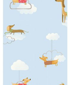 This Walkies Sausage Dog Wallpaper features adorable dachshunds in jumpers and scarves set amongst white clouds on a pale blue background. Dog Wallpaper, Paper Wallpaper, Scandinavian Style Bedroom, Cute Jumpers, Pattern Matching, White Clouds, High Quality Wallpapers, Main Colors, Blue Backgrounds