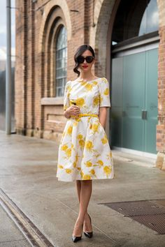 white and yellow flowery vintage style dress