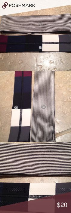 """LULULEMON HEADBANDS (2) STRIPES NAVY GRAY O/S Horizontal stripe, charcoal/cream, approx 2.5"""" wide, no grip dots inside. Vertical wide stripes, navy/cream/charcoal/burgundy, with grip dots inside, approx 2"""" Originally $14 each selling 2 for $20 lululemon athletica Accessories Hair Accessories"""