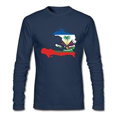 Men Haiti Map Flag Long Sleeve T-Shirt Navy - Brought to you by Avarsha.com