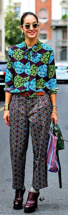 Powerclash XX street style Milan FW spring 2015 - love a good printed shirt...