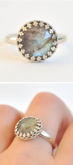 Labradorite Ring....I love Labradorite!  It's just a smoky brown stone, until the light hits it just right so it shines with blue, green and/or yellow.  It teaches that there is more to the world than what is seen....