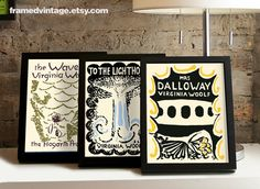 Virginia Woolf To The Lighthouse Framed Print Ms Dalloway The Waves Print Bloomsbury Vanessa Bell Book Art 8.5 x 11 Framed Print Set Decor