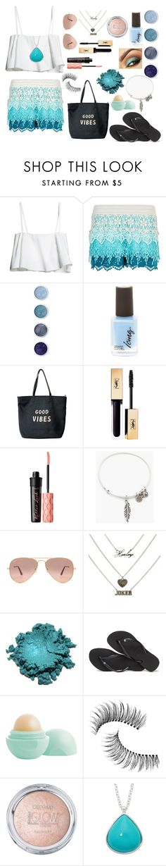 """""""Blue Skies!"""" by stylelover-650 ❤ liked on Polyvore featuring New Look, Terre Mère, Venus, Benefit, Alex and Ani, Ray-Ban, Havaianas, Eos, Trish McEvoy and Liz Claiborne"""