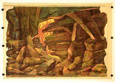 cis. 68. Peklo Pozadi vetsi. Stapferovy ceské decorace pro 25 i 35 cm. loutky. (Teil 68. Großer Hintergrund Hölle. Stapfers tschech. Dekorationen für 25-35 cm Puppen.)