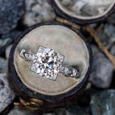Edwardian Engagement Ring GIA 2 Carat Old Euro Diamond Floral Engagement Ring, Antique Engagement Rings, Antique Diamond Rings, White Gold Rings, Unique Rings, Ring Designs, Natural Diamonds, 2 Carat, Edwardian Era