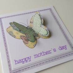 Mother's Day Card, Mother's Day, Mothering Sunday, Mothers Day Card, Mum, Mam, Mom, Mummy, Mama, 3D Butterfly, Grandma, Handmade in UK by PaperScissorsStitch on Etsy