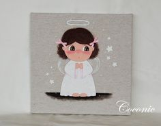 COCONIC: Cuadro infantil pintado a mano de niña angelito, personalizable.