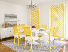White table, yellow chairs