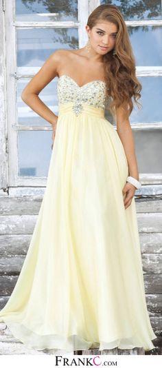 long prom dress,yellow prom dress