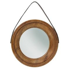 "Target : Threshold™ Decorative Wooden Wall Mirror with Hanging Strap - 9.7"" : Image Zoom"