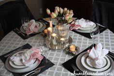 A Humble Creation: Simple & Elegant Anniversary Table Setting Wedding Anniversary Celebration, Anniversary Dinner, Anniversary Decorations, Silver Anniversary, Elegant Table Settings, Simple House, Wedding Events, Table Decorations, Tablescapes
