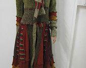 OOAK Upcycled Woodsy Gypsy Boho Sweater Coat Size M Resurrected Raggs
