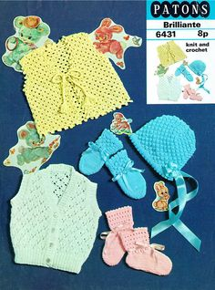 Patons 6431 baby items vintage knitting and crochet pattern 18 inch chest size double knitting wool Knitting Wool, Vintage Knitting, Double Knitting, Baby Knitting, Crochet Baby, Knit Crochet, Craft Patterns, Baby Patterns, Vintage Patterns