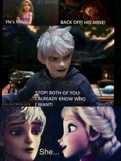 Rapunzel: el es mío   Mérida: marcha atrás es mío   Jack: detenerse las dos yo ya se que quiero  ELLA